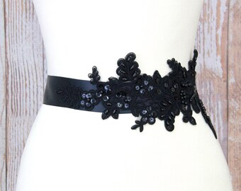 Black  Beaded Wide Black Sash , Bridal Black Sash, Bridesmaid Sash, Flower Girl Lace Sash, Black Lace Sash Belt