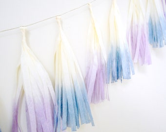 Blue and Purple Dip Dyed Tissue Tassel Garland - One Stylish Party