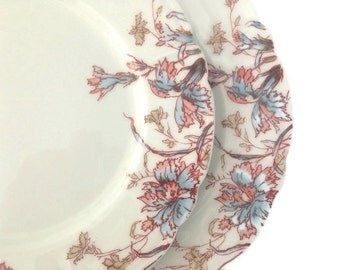 Antique Limoges Plates Dessert Plates Early 1900's Floral on White Set of 6 Bread and Butter Plates