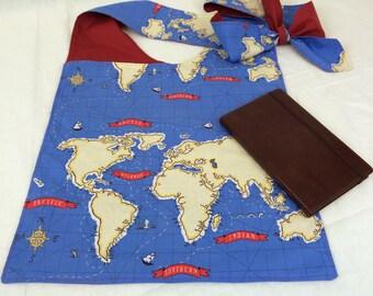 Cross Body Messenger Bag--Hip Sling Bag--Adjustable Strap Shoulder Bag--Diaper Bag--Book Bag--2 Pockets--OOAK--Blue World Map Messanger Bag