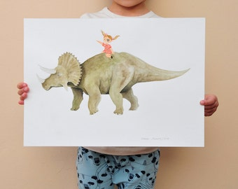 Pirate girl riding triceratops original artwork 42x29.8cm/16,5x11,7 inch // dinosaur illustration / Christmas gift idea