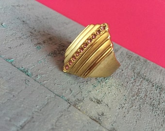 Gold with Pink diamonds geometric statement ring