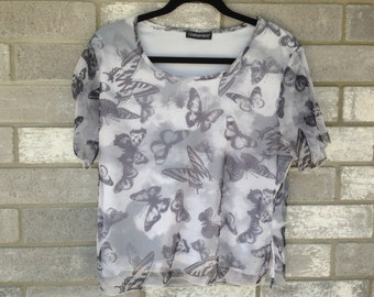 90s sheer club grey butterfly top