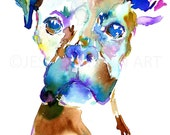 Boxer Watercolor Print, Boxer Watercolor Painting, Print of Boxer, Dog Painting, Abstract Dog Watercolor, Print of Dog, Boxer Print