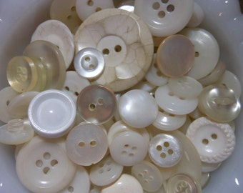 100 White Plastic Buttons