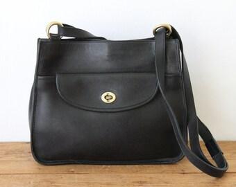 Vintage Black Leather Satchel Handbag / Medium Black Leather Vintage Purse / Hunt Club Shoulder Bag 072214-2