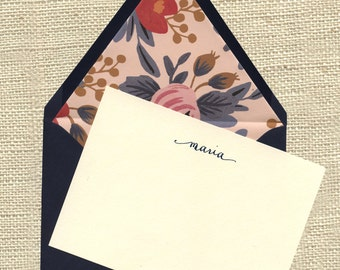 Maria Personalized Notecards - Navy envelopes lined with Rifle Paper Co paper