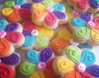 Rainbow Petal Flower Cookies