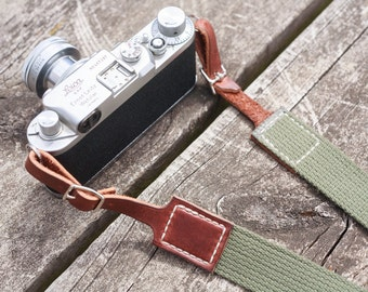 Rugged, timeless camera strap: Vintage deadstock olive cotton and rich brown leather