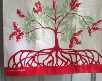 Vintage Small Towel, Red and Green Botanical Print, Marked Fiddle Wood, Charming Colors and Image