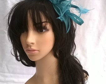 Teal Sinamay and Feather Rosette Fascinator with Leaves,loops, Feathers and crystal stamens