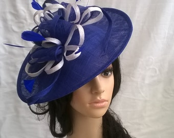Sapphire Blue & White Fascinator..Stunning  Sinamay and  Feather Shaped Fascinator Disc