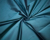 Peacock Blue Dupioni Fabric, Dark Teal Silk Fabric by the Half Yard