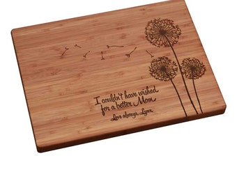 Mother's Day Gift Personalized/ Engraved Cutting Board w/ Dandelion Design Personalized Mother's Day Gift, Mothers Day Gift, Gift for Mom