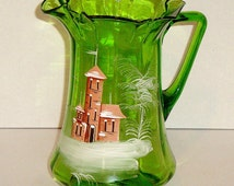 Victorian Emerald Green Mary Gregory Pitcher With Landscape Castle c.1880's