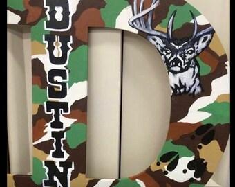 Camouflage Wooden Letter Door Hanger