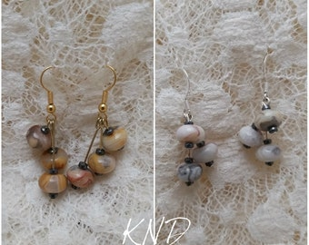 Crazy lace agate and hematite earrings gold or silver