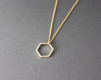 Little Hexagon necklace - Open Hexagon necklace - gold hexagon necklace - geometric necklace