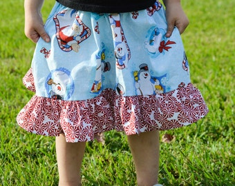 Santa Skirt, Frosty the Snowman,  ruffle skirt, girls skirt, holiday skirt, Santa Claus, festive