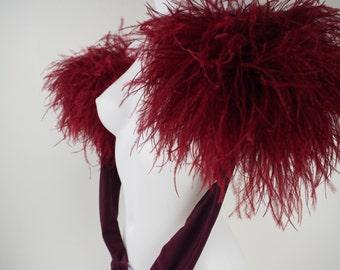 Burlesque Ostrich Trim Lycra Gloves
