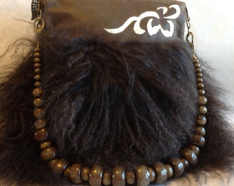 Dark Brown Mongolian Lamb Handbag