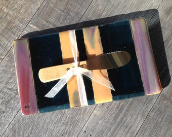 Appetizer Plate,Serving Plate,Hostess Gift,Fused Glass,Happy Hour,Cheese Plate,Fusion Studio,Amy Swank,Decor,Functional Art,Earth Tones