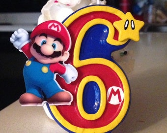 3 inch tall Super Mario birthday candle - any number!
