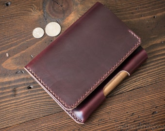 "Field Notes wallet with pen sleeve ""Park Sloper Senior"" Horween Chromexcel leather - burgundy #8 CXL"