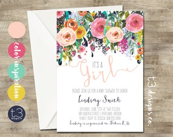 Whimsical Girl Baby Shower Invitation, girl baby shower invite, baby shower, floral baby shower, watercolor baby shower invitation, T3