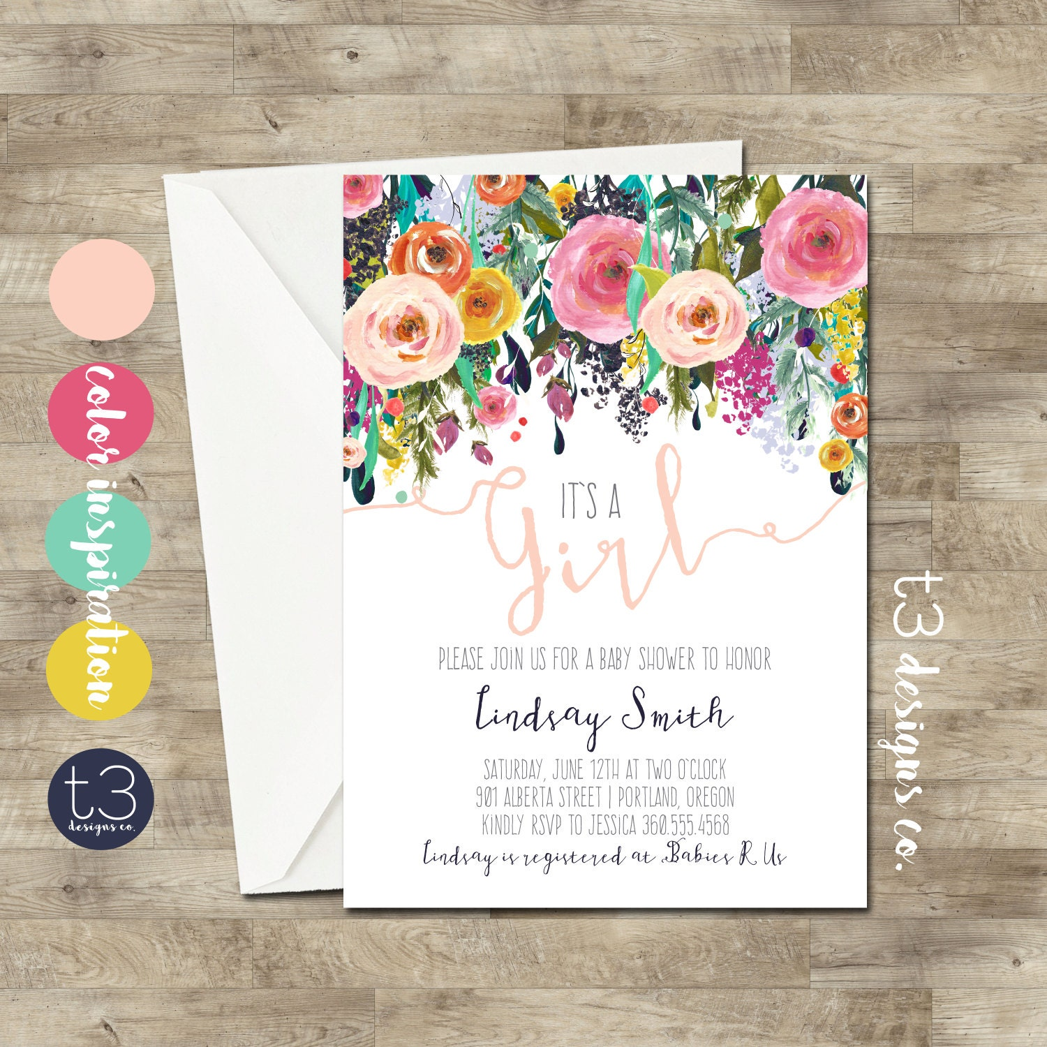 floral baby shower  etsy, Baby shower invitations