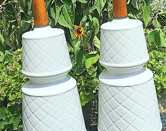 Mid Century Danish Modern White ceramic Art Pottery stunning Bedroom Lamps or small table lamps