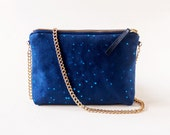 Blue Clutch Purse with Gold Chain Strap, Confetti Dots Print Bag, Indigo Small Crossbody Bag