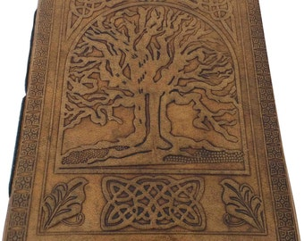 Tree of Life Embossed Handmade Leather Journal Notebook Diary Blank Pages Tanned