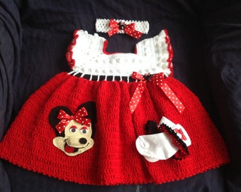 Minnie Mouse Custom Made Crochet Dress - Size  9 to 12 Months