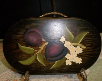 Vintage Tole Painted Plums on Wood Plaque Felt Back, S
