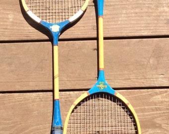 Vintage All Wood Badminton Racquets, Blue Badminton Racquets, Game Room Decor