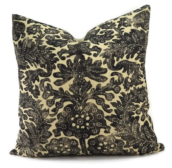Ralph Lauren Ikat Throw Pillow Cover Antibes Batik Charcoal