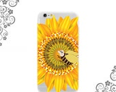 iPhone and Galaxy Soft TPU Phone Case Back Cover Sunflower Pollen Bee - UV0329