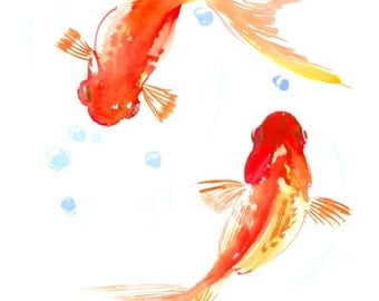 Two Goldfish, Two Koi, original orange yellow watercolor Asian style painting, Zen Brush painting, 12 X 9 in