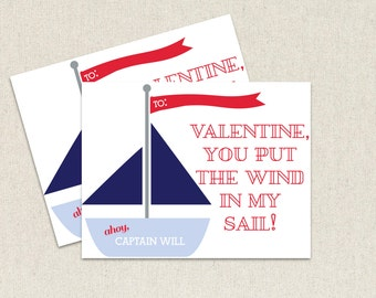 Boys you are the wind in my sail Valentine Day's cards