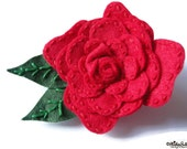 Roses are Red - Handmade Embroidered Red Felt Rose Flower Brooch with Green Embroidered Leaves