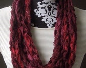 Clearance Sale / Red Cowl / Braided Scarf / Scarf Necklace