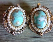 Turquoise Art Glass Victorian Revival '40's Earrings, Copper Fluss, Seed Pearls, Vintage