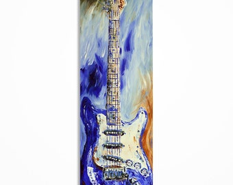 Guitar painting, Guitar art, Music art, Original abstract green and blue electric guitar painting on 36 x 12 inch canvas MADE TO ORDER