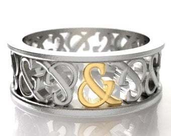 2-Tone Gold Ampersand Ring His & Hers Wedding Band Custom Made in Silver, 10K 14K 18K Gold, Palladium or Platinum Made in Your Size R5002