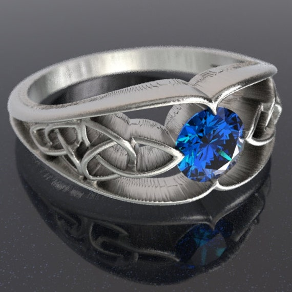 Celtic Wedding Ring With Trinity Knot Design With Blue Sapphire Stone in Sterling Silver, Made in Your Size CR-1048