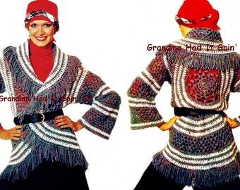 Circle Wrap Crochet Cardigan  - Vintage Crochet Sweater - Bohemian  Coat - Wide Collar Hippie Jacket PDF Instant Download Digital Pattern