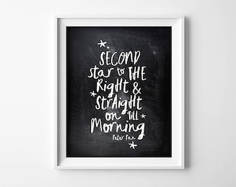 Peter Pan PRINTABLE Nursery Art - Second Star To The Right - Nursery Decor - Baby Shower Sign - Gift - Chalkboard Effect - SKU:6267
