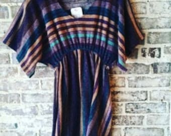 Colorful Striped Textured Dress Size Medium