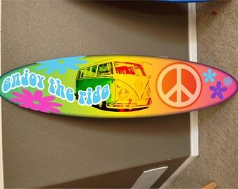 wall hanging surf board Hippie surfboard VW decor Peace surfboard surfing beach decor